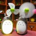 Totoro dos desenhos animados fã criativo carregamento LED night luz ventilador elétrico lâmpada fã mudo dormitório estudantil Ventilador USB luz branca quente lâmpada
