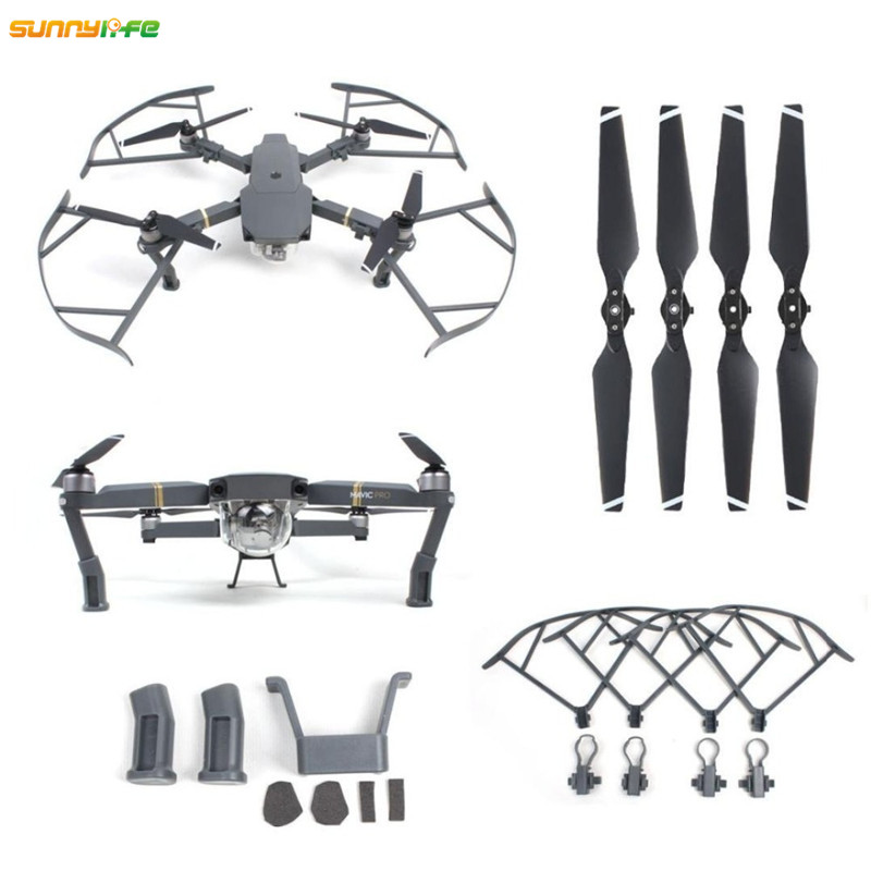 Sunnylife 3In1 DJI Mavic Pro Accessories 8330 Folding Propellers Propeller Guard Protection Props Ring Heightened Landing Gear 4pcs set prop propeller protection ring unmanned aerial vehicle crash accessories for dji mavic pro