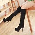 2016 Senhoras Da Moda Sexy Joelho Botas Altas Das Mulheres Botas de Inverno Quente Longos e Grossos sapatos de Salto Alto Mulheres sapatos