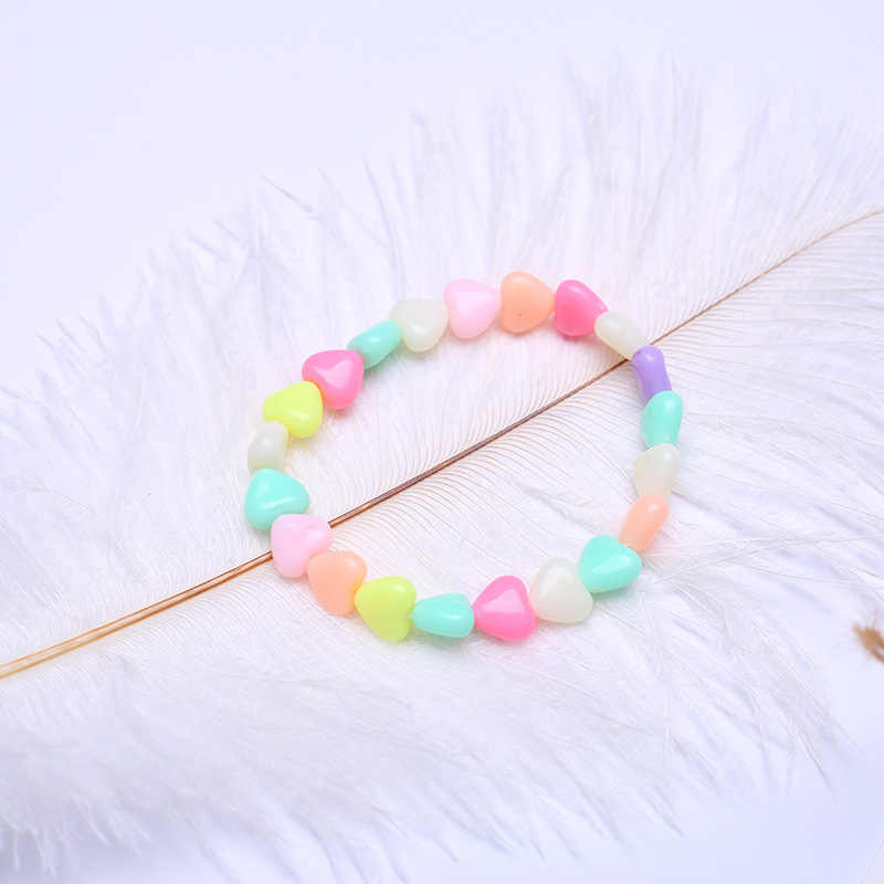 Summer Style Kids Children Cute Candy Colorful Cartoon Acrylic Small Heart Bracelet for Girl Birthday Party Jewelry Gift