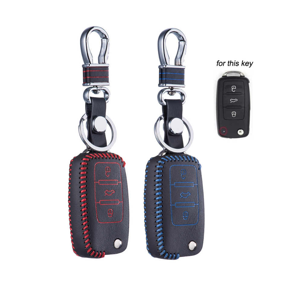 Top Leather Key Cove for VW Golf Jetta MK6 Tiguan Bora Passat MK5MK6 Eos POLO CC Skoda SEAT Fob Case Chain Shell Keychain Keybag