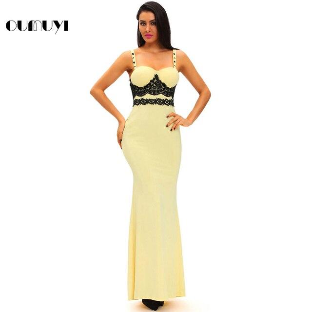 01d3ee130c48d4 OUMUYI Fashion Party Kleider Sexy Kleider Vestidos Festa Schwarz Spitze  Detail Gelb Lange Maxi Kleid Robe