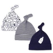 3 шт./лот маленьких Шапки хлопок печатных детские Головные уборы для женщин для 0-6 месяцев новорожденных аксессуары для малышей kf268