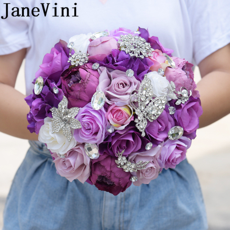 JaneVini Purple Crystal Wedding Bouquet Artificial Peony Rose Bridesmaid Bride Holding Flowers Butterfly Jewelry Bridal Bouquets