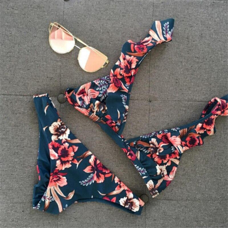 Two-Pieces Women Floral Push-up Padded Bra Ruffles Bandage Bikini Set Triangle Swimsuit Triangle Swimwear Bathing Suit Beachwear