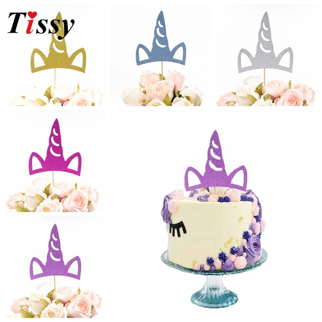 hot 5pcs creative gold unicorn cake topper diy cake topper picks party cake decoration kids