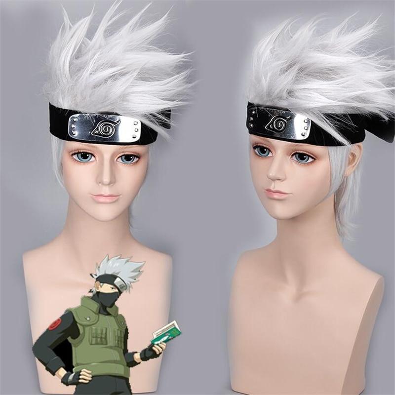 High quality NARUTO Hatake Cartoon Hatake Kakashi Wig Silvery Cosplay Forehead Halloween Party Stage White Short Hair