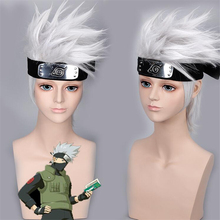 High quality NARUTO Hatake Cartoon Hatake Kakashi Wig Silvery Cosplay Forehead Halloween Party Stage White Short Hair