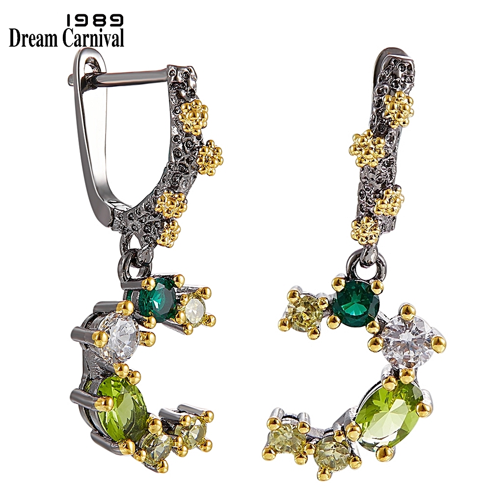 DreamCarnival1989 Top Brand Quality Earrings for Women Wedding Engagement Party Green Tone Colors Zircons Jewelry WE3948