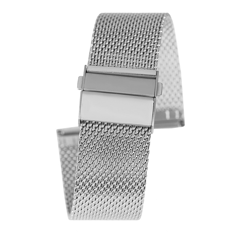 18/20/22mm Watch Band Mesh Stainless Steel Black/Silver/Rose Gold Fold Over Clasp Strap Men Women Watches Replacement Bracelet 18 20 22mm mesh stainless steel watch band black silver rose gold strap hook buckle men watches replacement bracelet for huiwei