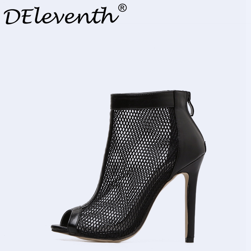 DEleventh Hot Sexy Mesh Clear Hollow Out Thin Heel Peep Toe Stiletto High Heels Boots Woman Shoes Net Summer Sandals Shoes Women summer woman green high heels fashionable 16cm stiletto platform shoes sexy ankle buckles hollow out design peep toe shoes