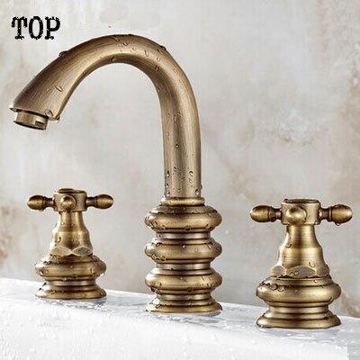 все цены на Antique brass three hole basin faucet basin mixer tap water tap bathroom faucet