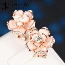 INALIS फैशन आभूषण मोती बालियां महिलाओं के लिए सोना रंग एसडब्ल्यू तत्व ऑस्ट्रियाई क्रिस्टल फूल बालियां गुलाब E722