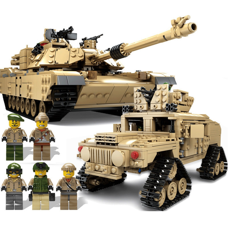 KAZI Building Blocks 10000 Century Military M1A2 Abrams Tank Cannon Deformation hummer cars Compatible legoed toys for children kazi large military 1463pcs 2in1 tank hummer building blocks bricks army war models toys for boys children compatible lepin