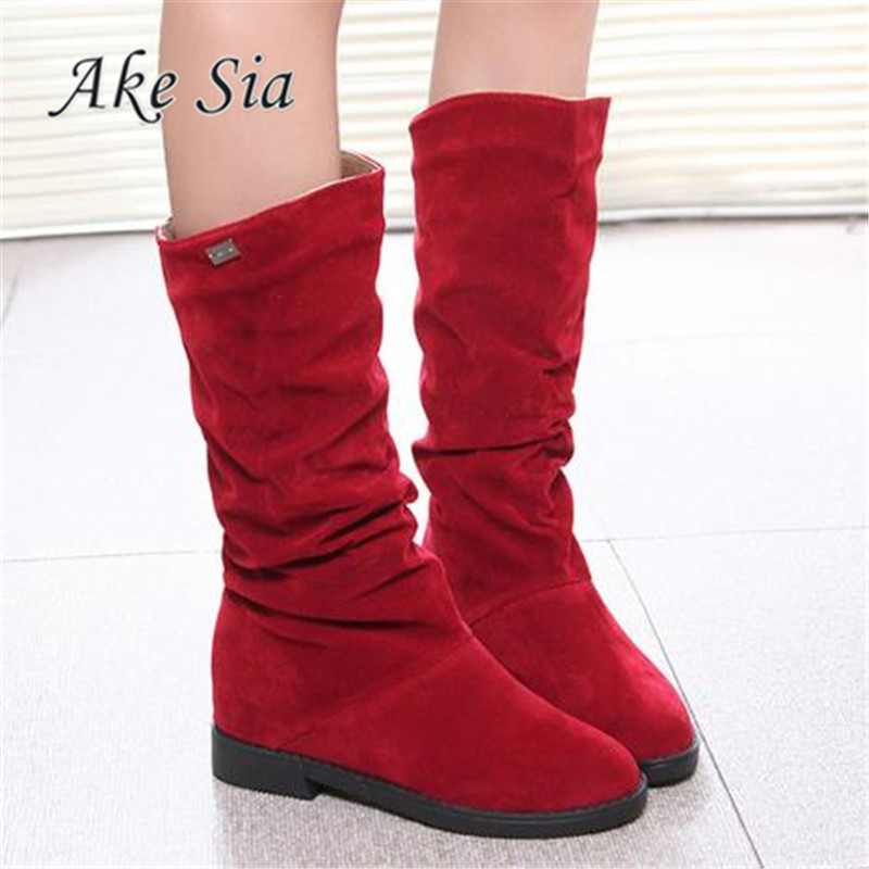 Autumn Winter Women Boots Matte Flock Boots For Female Ladies Height Increased Low Heel Shoes Woman Mid Calf High Boots F263 simplicity women s mid calf boots with flock and pure color design