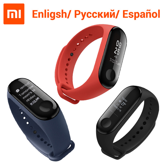 English Version Xiaomi Mi Band3 Smart Wristband Bracelet 0.78 OLED Touchscreen Reject-Call Pulse Heart Rate Step Time mi band2 xiaomi mi 8 se 4g phablet english and chinese version