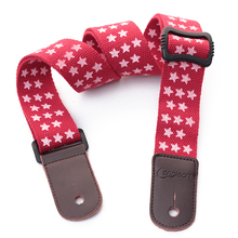 Longteam cotton + leather five-pointed star uukiri shoulder strap with tail nail  length 75 -125cm width 4cm red