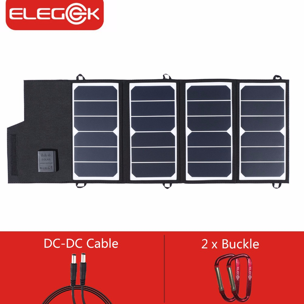 ELEGEEK 26W 5V SUNPOWER Folding Solar Panel Charger USB+DC Output 12V Solar Charger Power Bank for iPhone Battery Charger