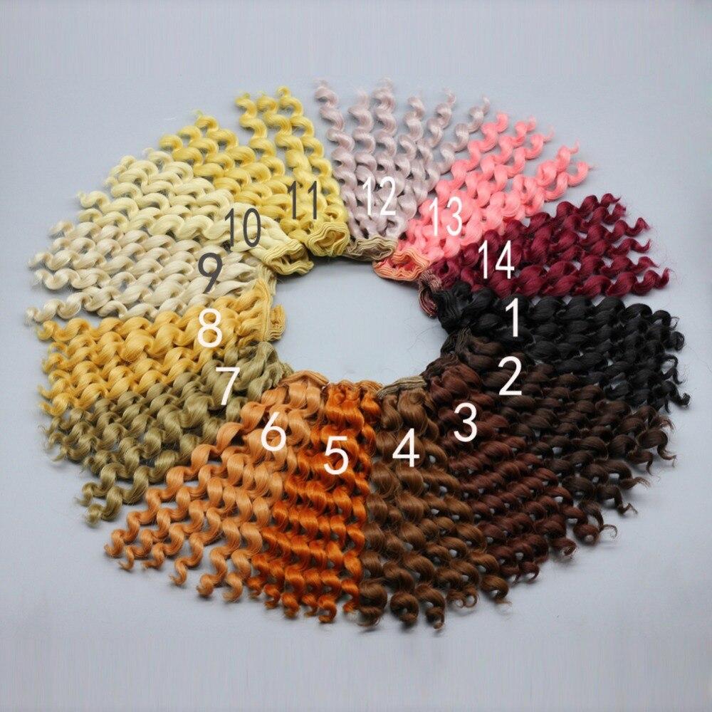 20 см брюнет русый кофе черный коричневый натуральный цвет вьющиеся кукла парики волос для 1/3 1/4 1/6 БЖД SD кукла DIY