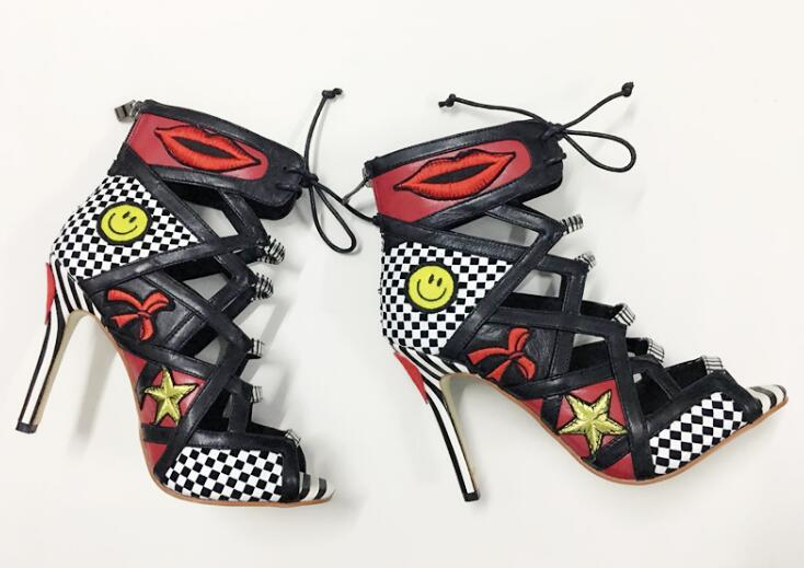 new fashion printed leather high heel boots summer open toe lace-up gladiator sandal boots smile face thin heels bootsnew fashion printed leather high heel boots summer open toe lace-up gladiator sandal boots smile face thin heels boots