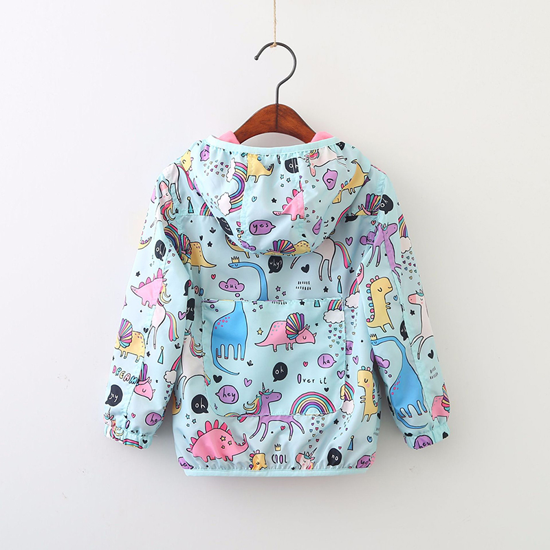 Мультфильм Единорог ветровка с капюшоном для Куртка, пальто для девочек Демисезонный детская куртка; верхняя одежда детская одежда