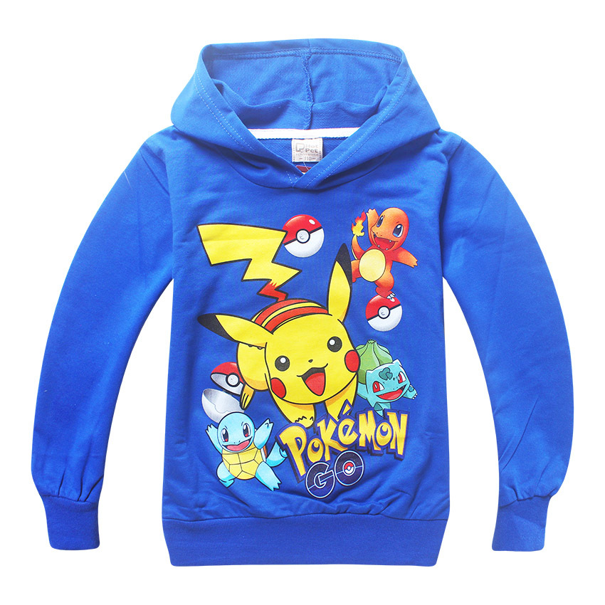 2017 Spring Autumn Boys & Girls pokemon Hoodies Kids Long Sleeve T shirts Hooded Clothes Children Sweatshirts Boy Sport T-shirts