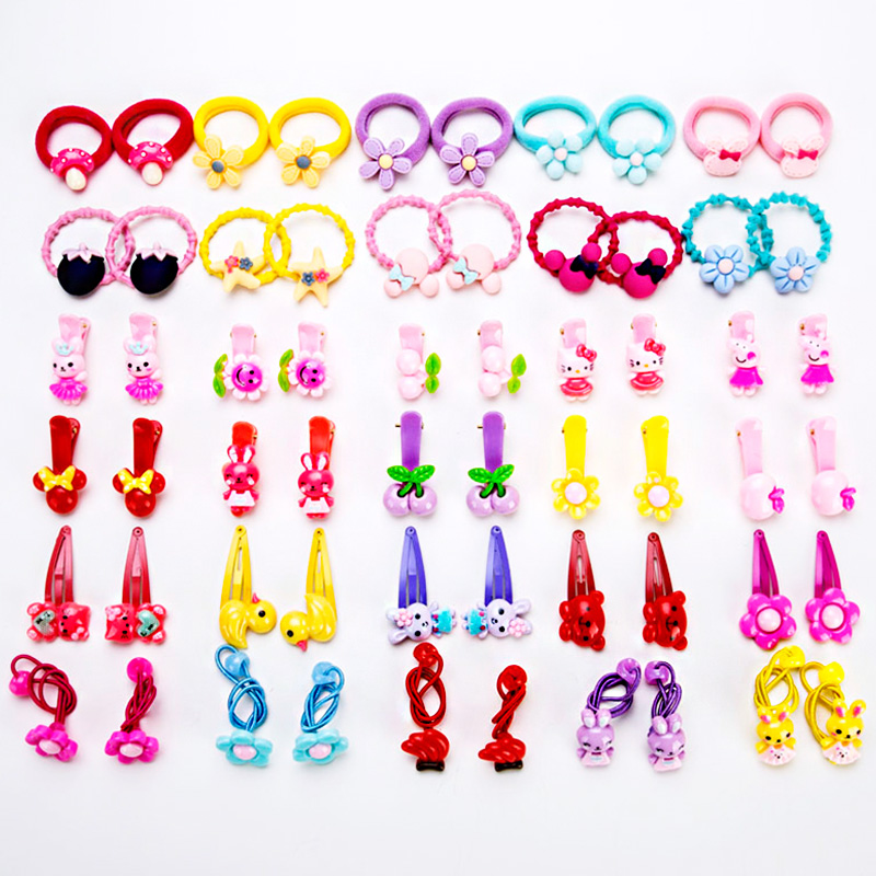 60PCS/Lot Baby Girls Colorful Acrylic Cartoon Elastic Hair Bands Tie Hair Ponytail Holder Hairpin Headband Kids Hair Accessories 12pcs lot wholesale girls hair band colorful cute elastic rubber bands kids hair ropes ponytail holder tie gums hair accessories