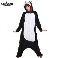 Women Onesie Funny Party Jumpsuit Unisex Adult Pajama Black Devil Cartoon Casual Long Suit Winter Warm Flannel Sleepsuit