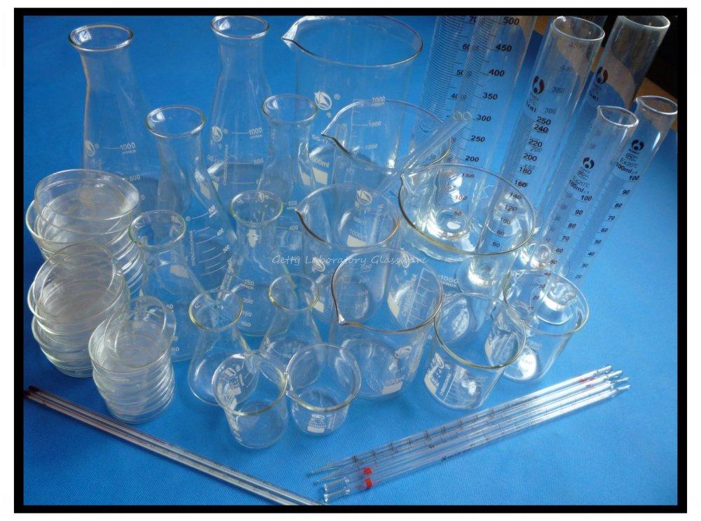 Free Shipping, Lab Glassware Kit (Beak, Erlenmeyer flask, Measuring Cylinder, Petri Dish, thermometer)(Borosilicate Glass 3.3) 1000ml glass measuring cylinder