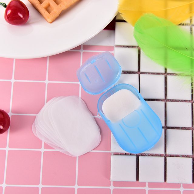 20pcs/pack Paper Soap Outdoor Travel Soap Scented Slice Sheets Paper Washing Hand Bath Clean Wash Care with Case Color Randomly