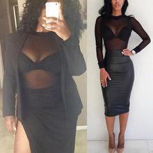 2018 High Neck Lettuce Hem Mesh blusa Sexy Womens Long Sleeve Tops Black High Neck Elegant Slim blusa
