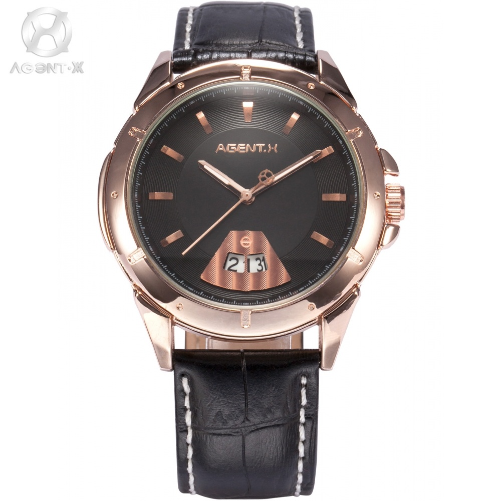 Le Fatal Charm AGENTX Stainless Steel Rose Gold Case Black Dial Analog Auto Date Leather Strap Quartz Men Casual  Watch / AGX036 le labo rose 31