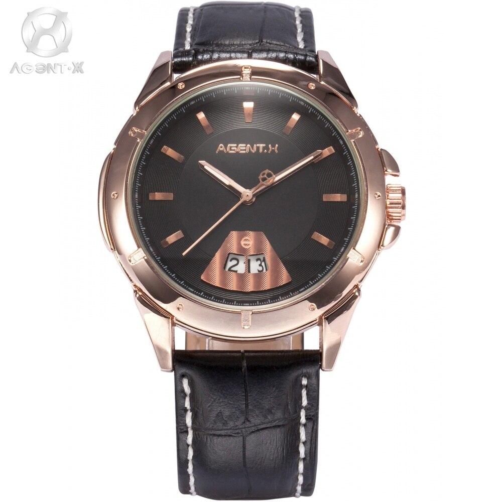 где купить Le Fatal Charm AGENTX Stainless Steel Rose Gold Case Black Dial Analog Auto Date Leather Strap Quartz Men Casual  Watch / AGX036 по лучшей цене