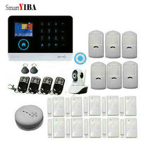 SmartYIBA Wireless WIFI GSM Home Security System Kit Security Alarm System Support IOS Android IP Camera Smoke Detector
