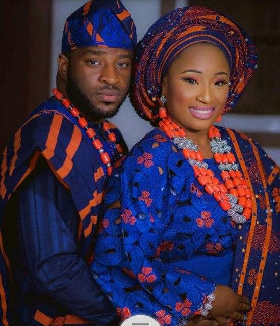 בלעדי מסורתיים אפריקאים חתונה ערכות תכשיטי חרוזים אלמוגים CNR812 סטי תכשיטי כלה וחתן זוג 2017 משלוח חינם