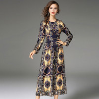 2017 Autumn New Woman Elegant Sexy Leopard Printing Dress Female O Neck Slim Dress Fashion Casual