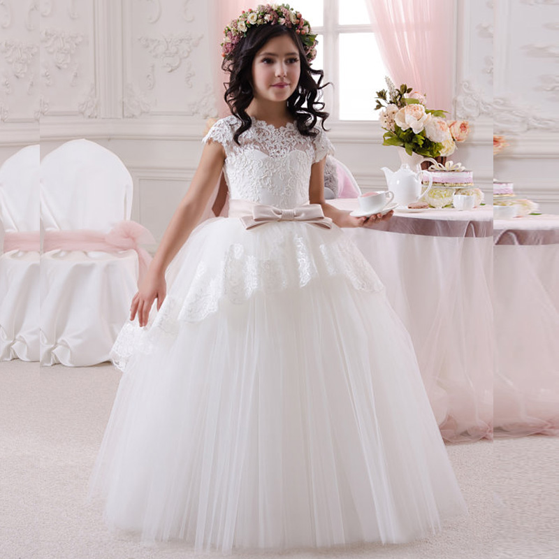 White Lace Long Ball Gown with Belt Elegant Flower Girl Dresses for Wedding Party First Communion Custom Made