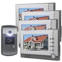 DIYSECUR 7 pulgadas Pantalla a Color LCD de Video Teléfono de La Puerta de Entrar En puerta de Intercomunicación Tarjeta de Clave RFID Reader LED Cámara de Visión Nocturna 1V4