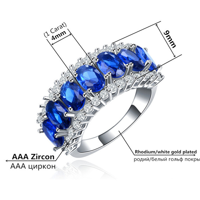 H:HYDE CZ Stone Jewelry Silver Color rings for women engagement  Wedding Blue jewelry classic fashion party bijoux