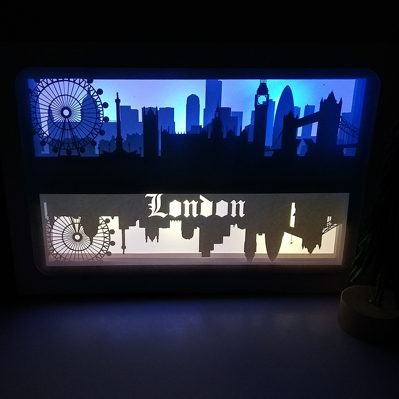 London Ferris Wheel Design Paper Lantern 3D Papercut Light Boxes Baby Night Light Lamp of Creative Light Paintings Couples Gift