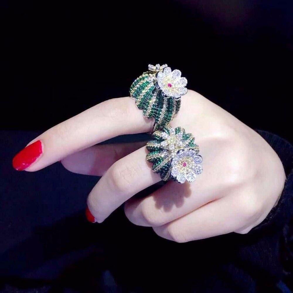 Qi Xuan_Trendy joaille_multicolore figue de barbarie Ring_S925 solide argent mode élégant et Noble ring_fabricant directement vente