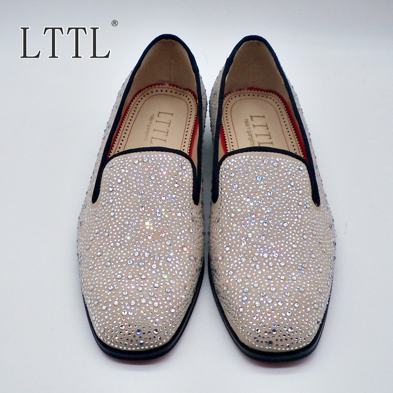 LTTL New Arrival Handmade Rhinestone Men Suede Loafers Luxury Party - Men's Shoes - Photo 5