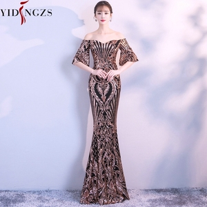 Image 1 - YIDINGZS New Flare Sleeve Black Gold Heavy Sequins Evening Dress 2020 Boat Neck Formal Evening Party Dress YD260