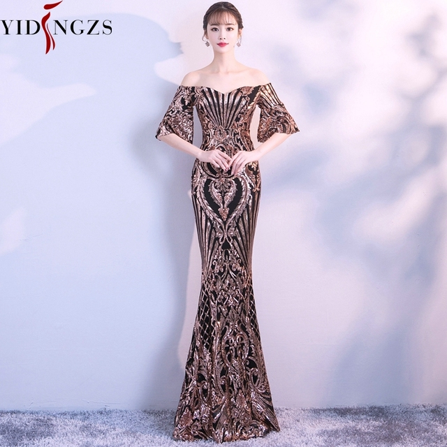 YIDINGZS New Flare Sleeve Black Gold Heavy Sequins Evening Dress 2020 Boat Neck Formal Evening Party Dress YD260