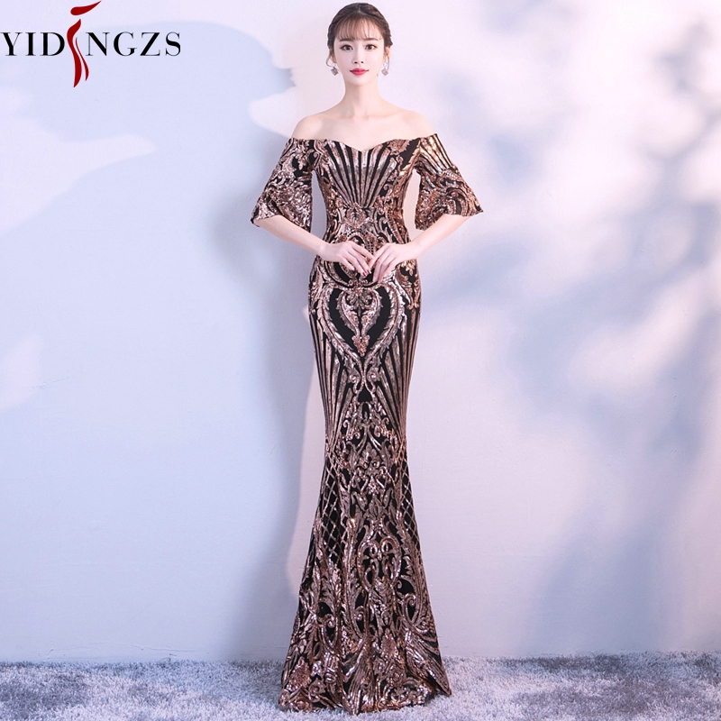 YIDINGZS New Flare Sleeve Black Gold Heavy Sequins   Evening     Dress   2019 Boat Neck Formal   Evening   Party   Dress