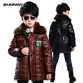 2017 outono e inverno das crianças vestuário das crianças das crianças jaqueta de couro brasão lint casaco casaco de veludo longos e grossos espessamento