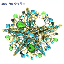 Vintage Jewelry Women jewelry Crystals Brooch Green Starfish Brooch Broach Pin W/ Imitate Pearl Rhinestone Crystals 6412