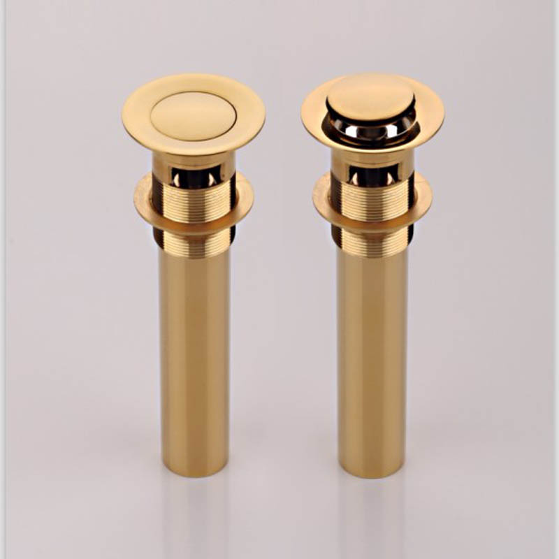 Bathroom Sink Drainer Brass Push Dwon Pop-up Golden Color Overflow Hole Basin Parts Faucet Accessories PJXY003G-Y