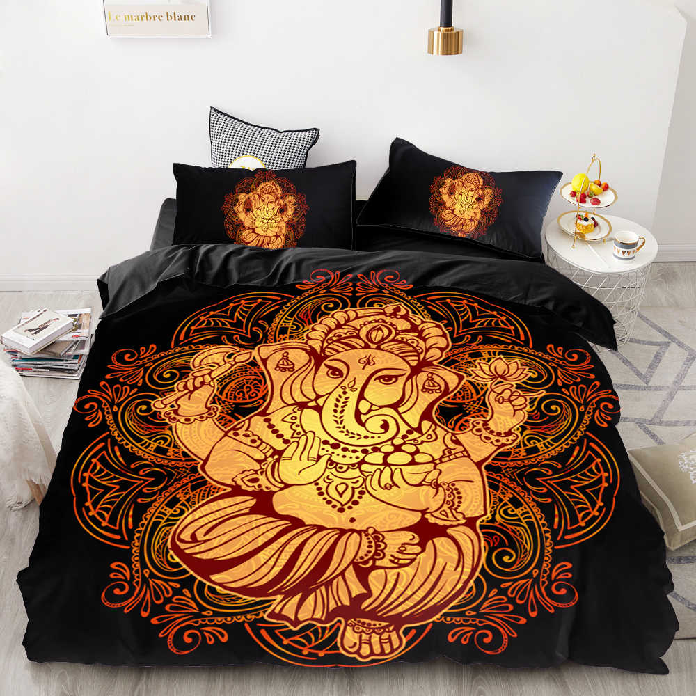 3D HD Digital Printing Custom Bedding Set,Black Duvet Cover Set Queen Cal King,Bedclothes Hindu lord Ganesh Drop Shipping