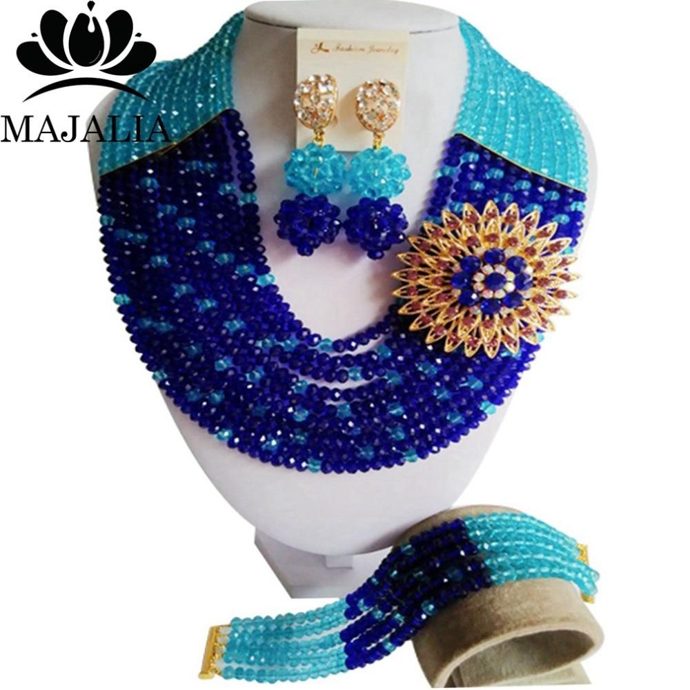 Fashion african jewelry set blue nigerian wedding african beads jewelry set Crystal Free shipping Majalia-422Fashion african jewelry set blue nigerian wedding african beads jewelry set Crystal Free shipping Majalia-422
